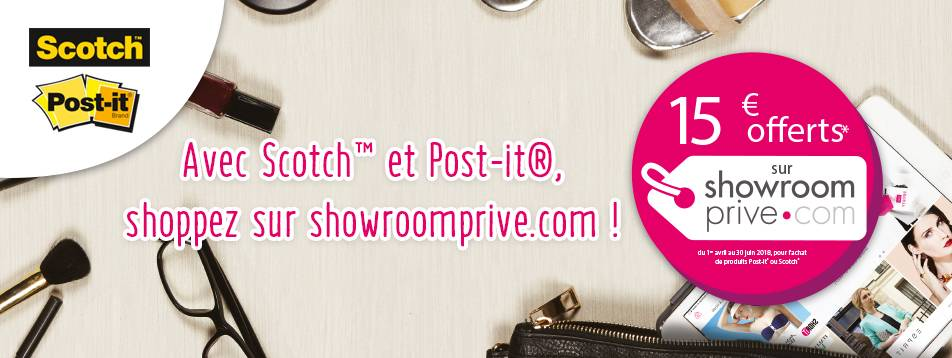 15€ offerts sur Showroomprive.com avec Scotch™ & Post-it®