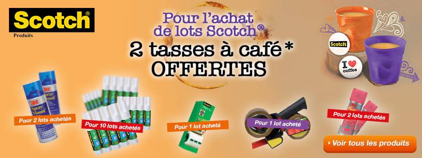 Pour l'achat de lots Scotch®, 2 tasses à café offertes